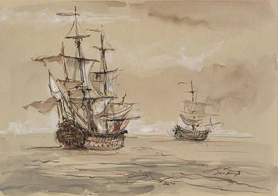 Sail Wall Art - Painting - Sail Ships by Juan Bosco