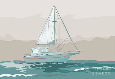 Sailing Ships Digital Art - Sailboat Retro by Aloysius Patrimonio