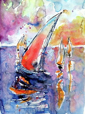 Painting - Sailboats At Sea by Kovacs Anna Brigitta