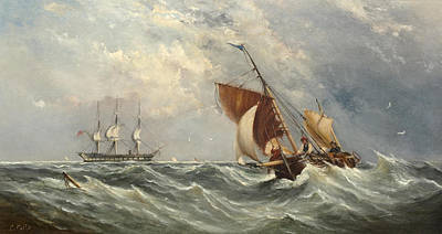 Sailboats In A Squall Art Print