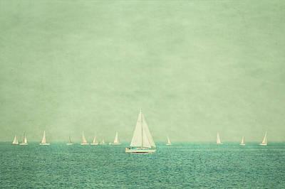 Sailboats In Pastel Art Print by Erin Cadigan