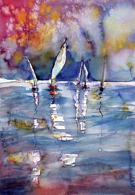 Sunrise. Water Painting - Sailboats  by Kovacs Anna Brigitta