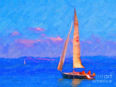 Wingsdomain Digital Art - Sailing In The San Francisco Bay by Wingsdomain Art and Photography