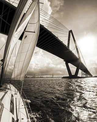 Harbor Bridge Wall Art - Photograph - Sailing On The Charleston Harbor Beneteau Sailboat by Dustin K Ryan