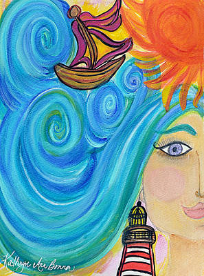 Brain Painting - Sailing On The Right Brain by Kathryn Bonner