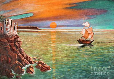 Painting - Sailing Ship And Castle by Irina Afonskaya