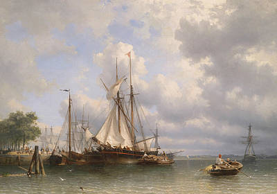 Ship Painting - Sailing Ships In The Harbor by Anthonie Waldorp