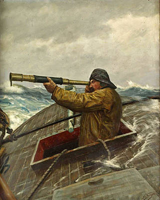 Sailor With Binoculars Painting - Sailor With Binoculars by Martin Aagaard