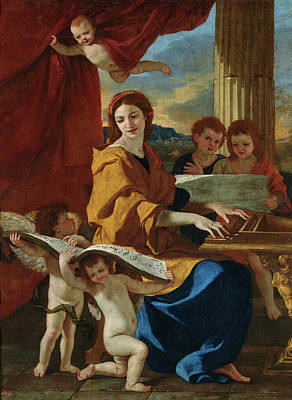 Interior Scene Painting - Saint Cecilia by Nicolas Poussin