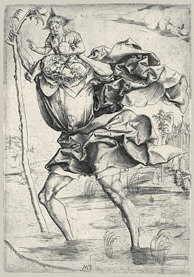 Saint Christopher Drawing - Saint Christopher by Master MZ