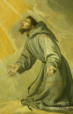 Religious Art Painting - Saint Francis Receiving The Stigmata by Vicente Carducho