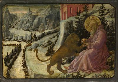 Digital Art - Saint Jerome And The Lion   Predella Panel by Fra Filippo Lippi and workshop