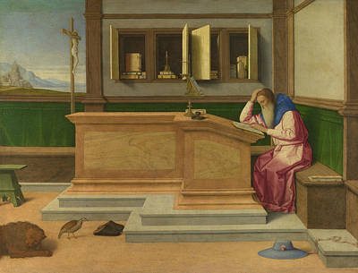 Jerome Painting - Saint Jerome In His Study by Vincenzo Catena