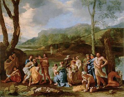 Baptism Painting - Saint John Baptizing In The River Jordan by Nicolas Poussin