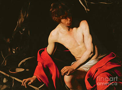 Drapery Painting - Saint John The Baptist by Michelangelo Caravaggio