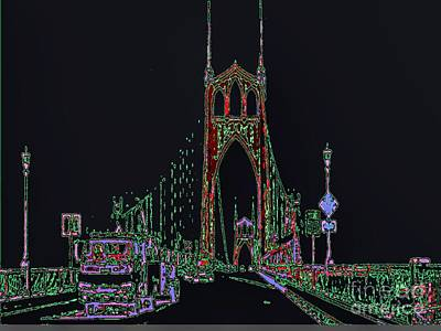 Mixed Media - Saint Johns Bridge by Susan Garren