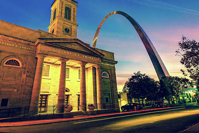 Wall Art - Photograph - Saint Louis Arch And Cathedral At Dawn by Gregory Ballos