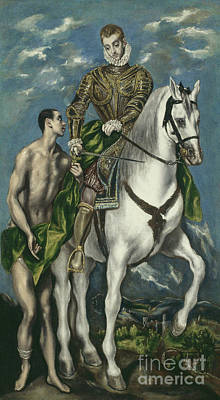 Saint Martin And The Beggar Art Print by El Greco