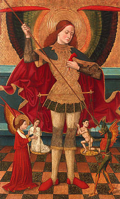 Christian Artwork Painting - Saint Michael Weighing Souls by Mountain Dreams