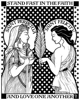 Drawing - Saints Perpetua And Felicity by Lawrence Klimecki