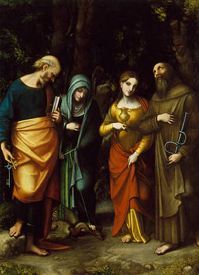 Painting - Saints Peter, Martha, Mary Magdalen, And Leonard by Correggio