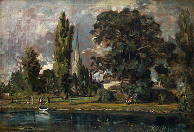 Cloudy Painting - Salisbury Cathedral And Leadenhall From The River Avon by John Constable