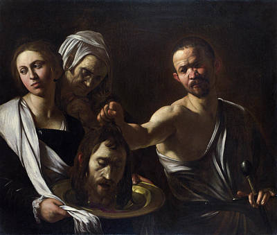 Beheading Painting - Salome Receives The Head Of Saint John The Baptist by Caravaggio