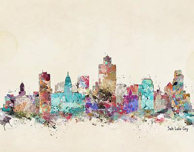 Colourfull Painting - Salt Lake City Skyline by Bleu Bri