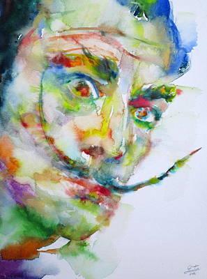 Painting - Salvador Dali - Watercolor Portrait by Fabrizio Cassetta
