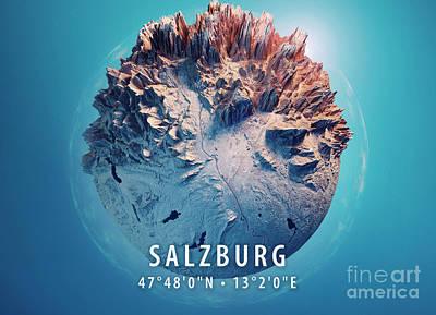 Salzburg 3d Little Planet 360-degree Sphere Panorama Blue Art Print