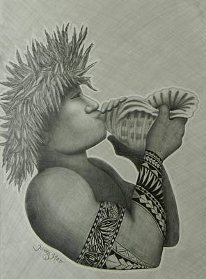 South Pacific Drawing - Samoan Taulima by Kristy Mao
