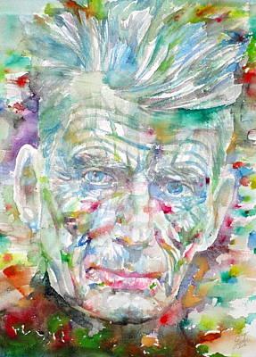 Painting - Samuel Beckett Watercolor Portrait.7 by Fabrizio Cassetta