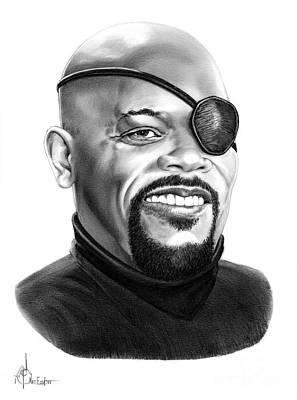 Avengers Drawing Drawing - Samuel L Jackson by Murphy Elliott