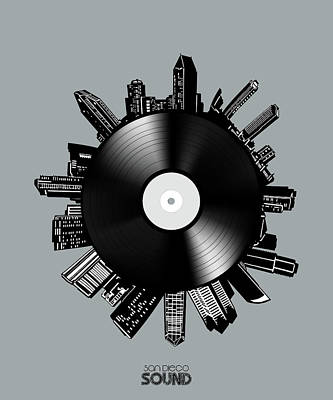 Digital Art - San Diego Skyline Vinyl 7 by Bekim Art