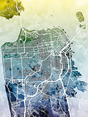 Street Digital Art - San Francisco City Street Map by Michael Tompsett