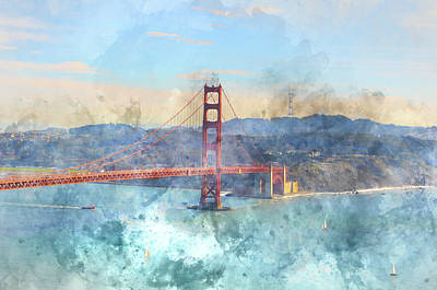 Golden Gate Bridge Photograph - San Francisco Golden Gate Bridge Retro Film Style by Brandon Bourdages