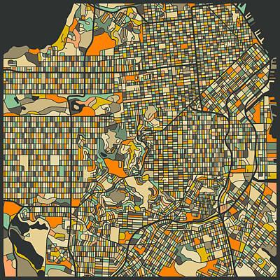 San Francisco Digital Art - San Francisco Map by Jazzberry Blue