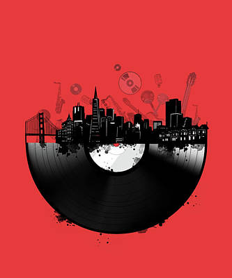 Royalty-Free and Rights-Managed Images - San Francisco Skyline Vinyl 3 by Bekim M