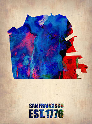 Modern Poster Painting - San Francisco Watercolor Map by Naxart Studio