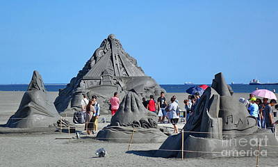 Photograph - Sand Sculptures On The Beach In Taiwan by Yali Shi
