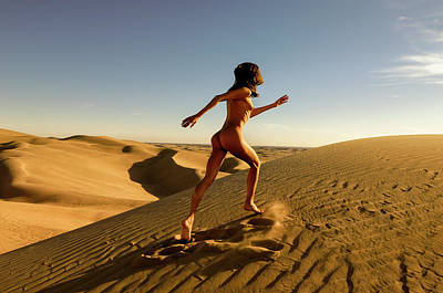 Photograph - Sandy Dune Nude - The Run by Amyn Nasser