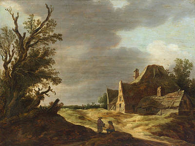 Landscape Painting - Sandy Road With A Farmhouse by Jan van Goyen