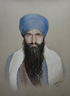 Solider Drawing - Sant Jarnail Singh Khalsa Bhindrawale by Jaspreet Singh