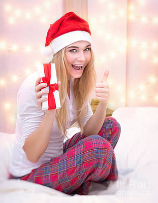 Photograph - Santa Girl With Gift Box by Anna Om