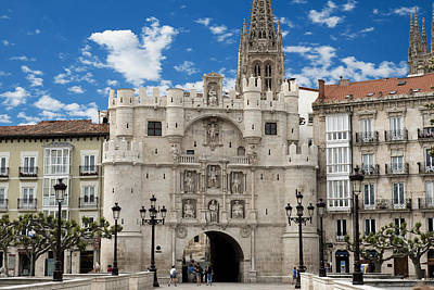 Santa Maria Arch - Old City Entry - Burgos Spain Art Print by Jon Berghoff