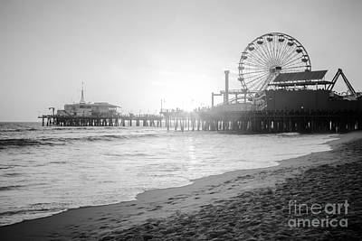 Roller Coaster Photograph - Santa Monica Pier Black And White Picture by Paul Velgos