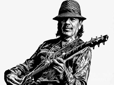 Guitar Mixed Media - Santana Collection by Marvin Blaine