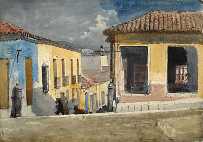 Winslow Homer Drawing - Santiago De Cuba. Street Scene by Winslow Homer