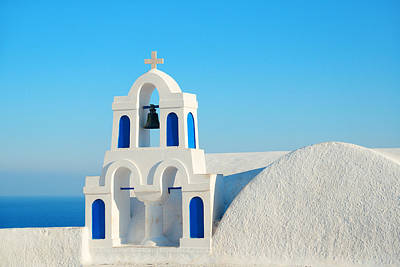 Photograph - Santorini Bell Tower by Songquan Deng