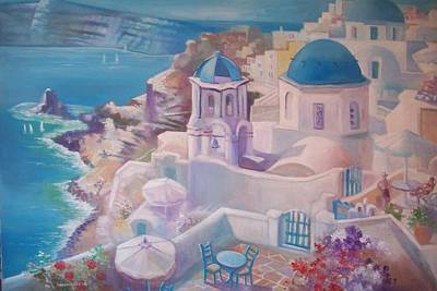 Painting - Santorini Greece by Paul Weerasekera